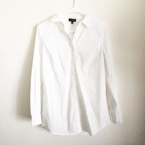 The Limited Blouse Button Front White Long Sleeve